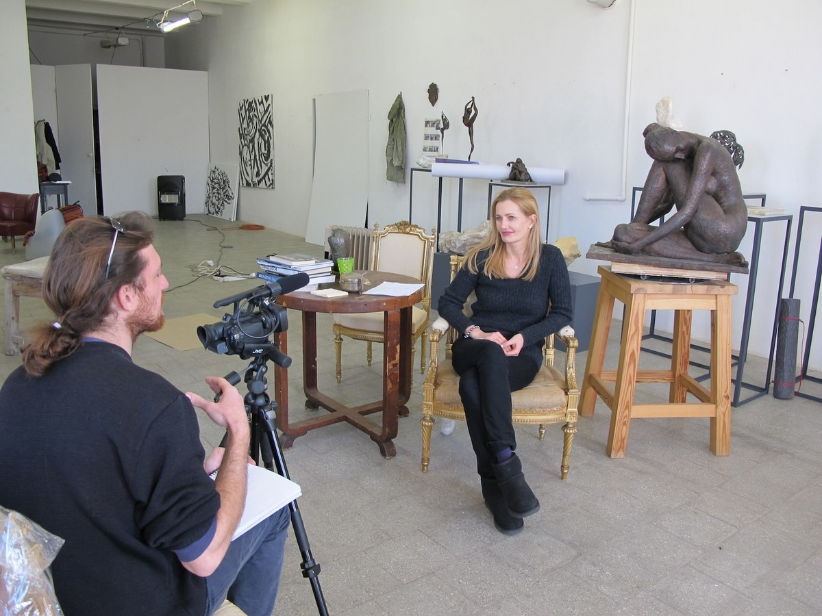interview at the studio, Warsaw